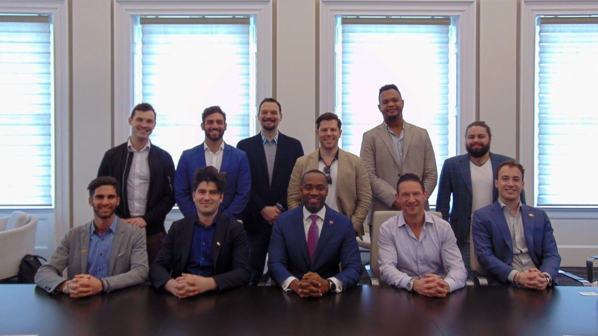 Eric Kryski from Bidali and other Canadian blockchain companies meeting with Bermuda's Premier David Burt