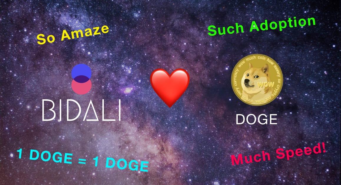 Bidali loves Dogecoin